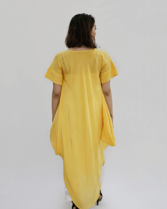 Yellow Pearl Draped Fusion Kurta