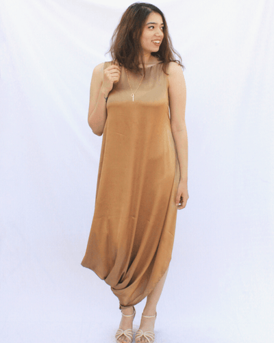 Luxe Champagne Gold Cowl Dress