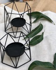 Geometric Metallic Candle Holders - Set of 2