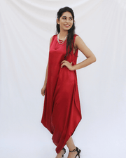 Classic Red Cowl Dress For Women