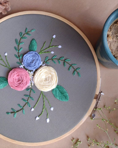 Bloom - Embossed Embroidered Hoop