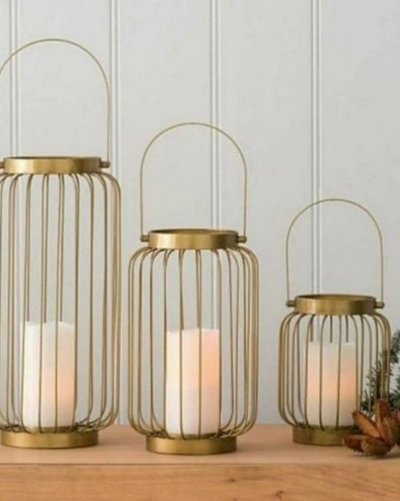 Gold Plated Lantern Candle Holders - Set of 3