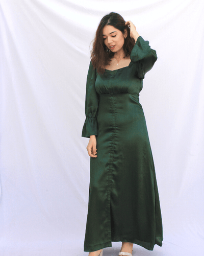 Classic Emerald Slim-Fit Dress