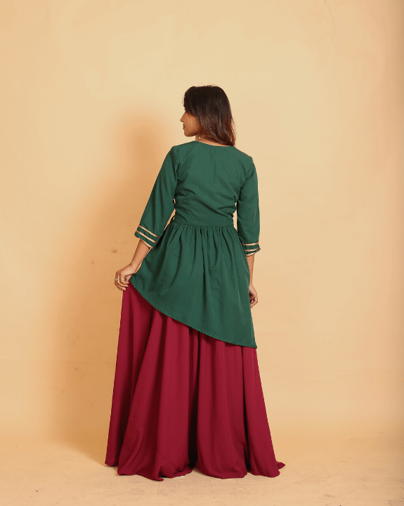 Emerald & Wine Fusion Kurti Skirt - Set of 2