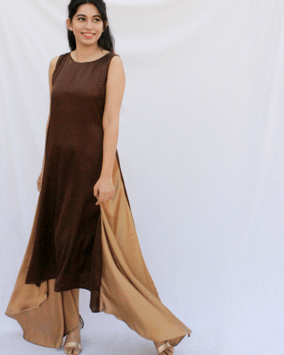 Mocha Champagne Draped Dress