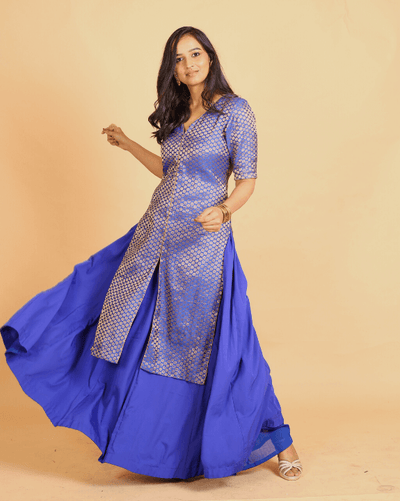 Royal Blue Brocade Kurta & Skirt For Women - Set of 2