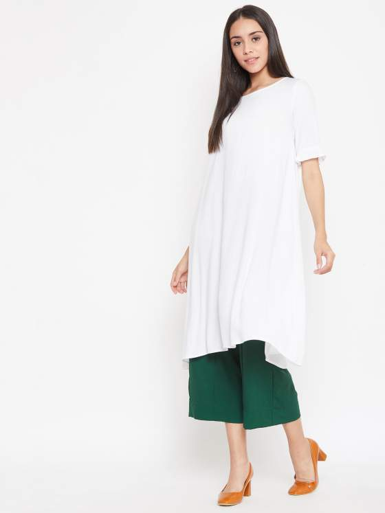 A free flowing aline kurta silhouette in white for women who love to be themselves