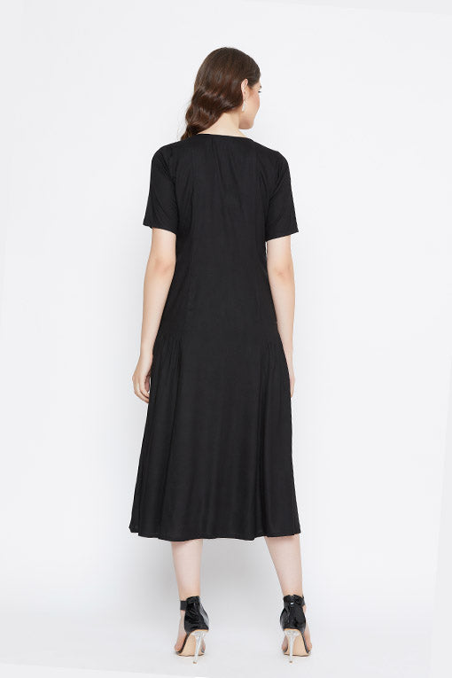 Black Side Ruffle Rayon Dress