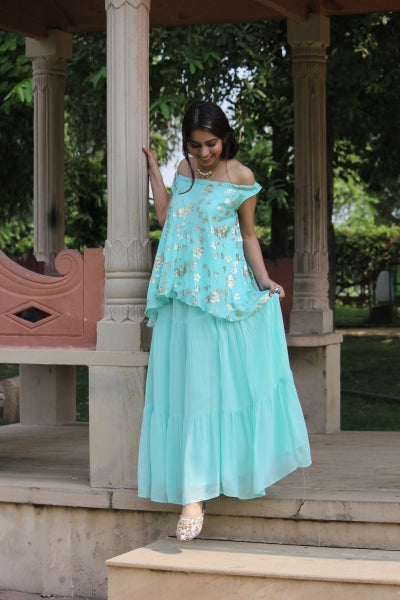 Aqua Top & Tiered Skirt - Set of 2