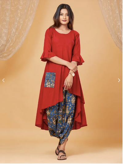 Red Ashrafi Cotton Kurta With Cowl Pants - Set of 2