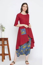 Red cotton kurta set of two with blue cowl pants