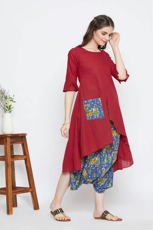 A fusion red and blue fusion set for women in Indian textiles