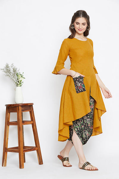 Yellow handloom cotton kurta with black cowl pants