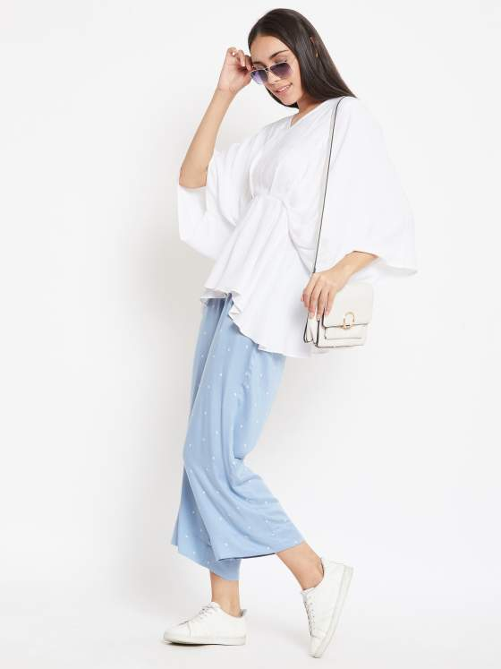 Pleated White Top With Powdered Blue Pants