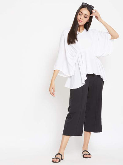 Pleated White Top with Black Pants Set