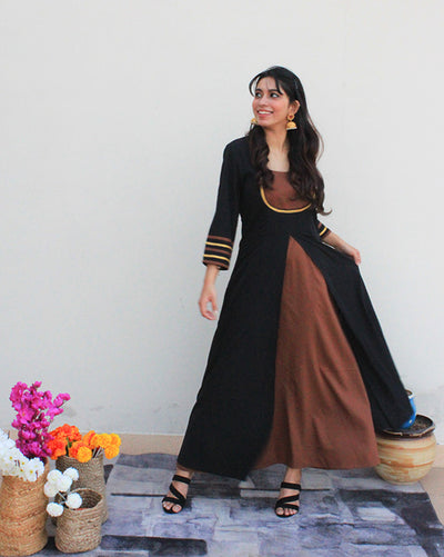 Black & Brown Long One Piece Dress