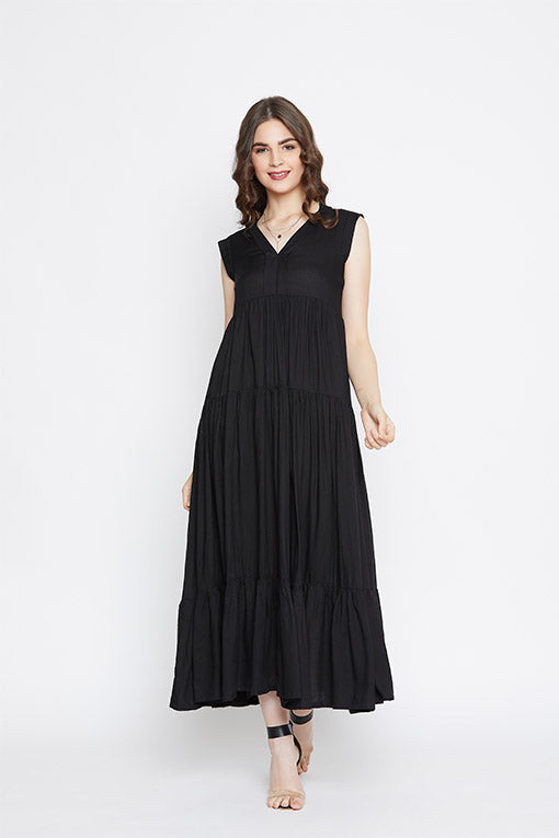 Women's Black Tiered Maxi Dress