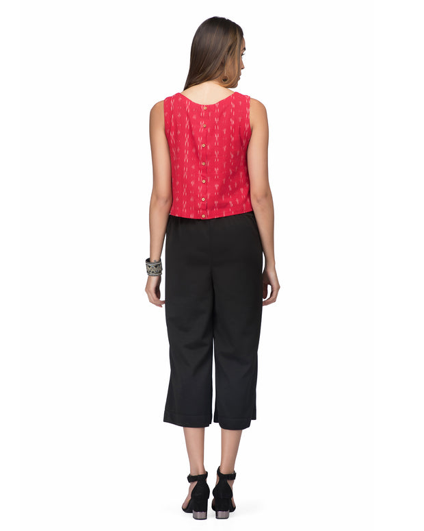 Black Cropped Palazzo For Women