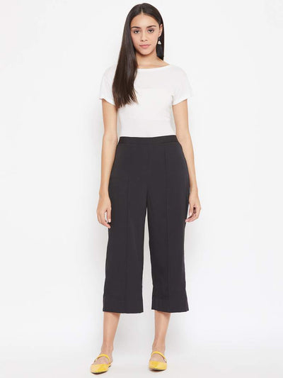 A pair of women's classic black culottes for the win