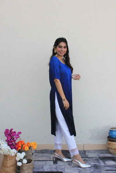 Boxed Midnight Blue Modal Kurta For Women