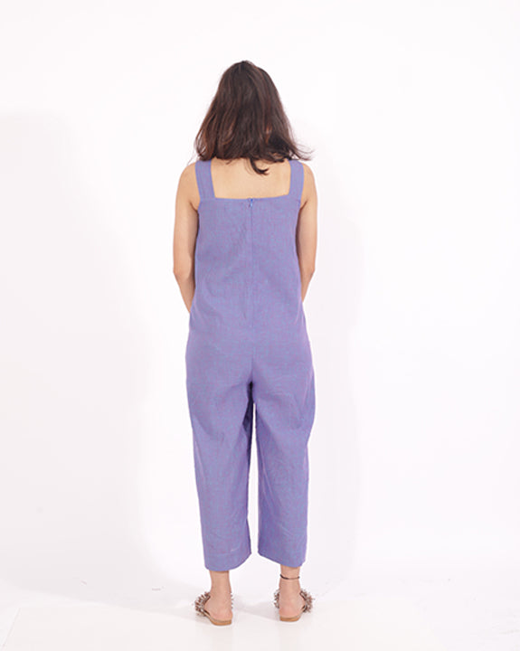 A square neckline dungaree style jumpsuit