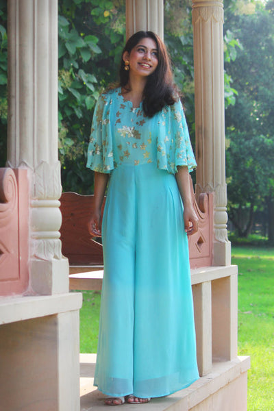 Own this beautiful Aqua color jumpsuit from thesvaya