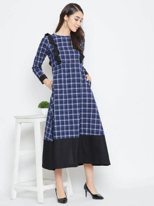 Blue Checks Maxi Dress