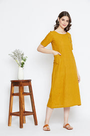 A comfortable cotton long dress with pockets for women