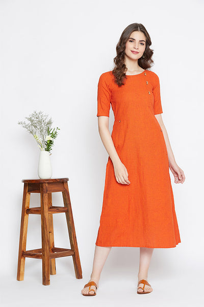A shift dress in handloom cotton for women