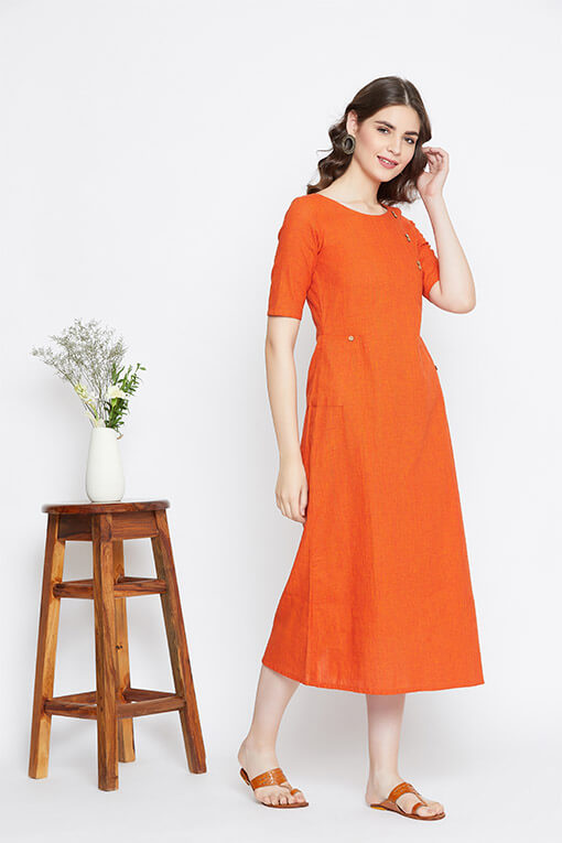 A solid rustic cotton long dress for women who love unusual cuts & colors