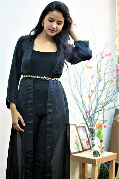 Women's Satin Tux Overlay - Black