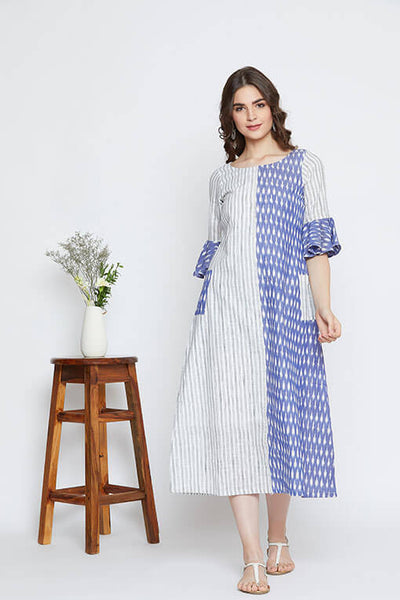 A women's summer maxi dress in handwoven ikat & cotton.
