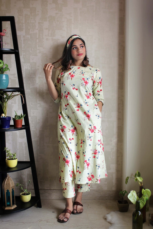 Rooted: A Cotton Kurta Set In Flora
