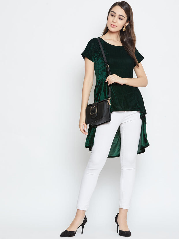 Buy our high low velvet top from thesvaya for this winter