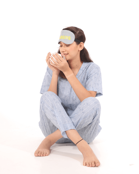 Sip your coffee while lounging in our comfort heather blue set