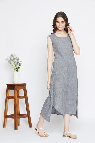 Grey cotton asymmetric hem dress