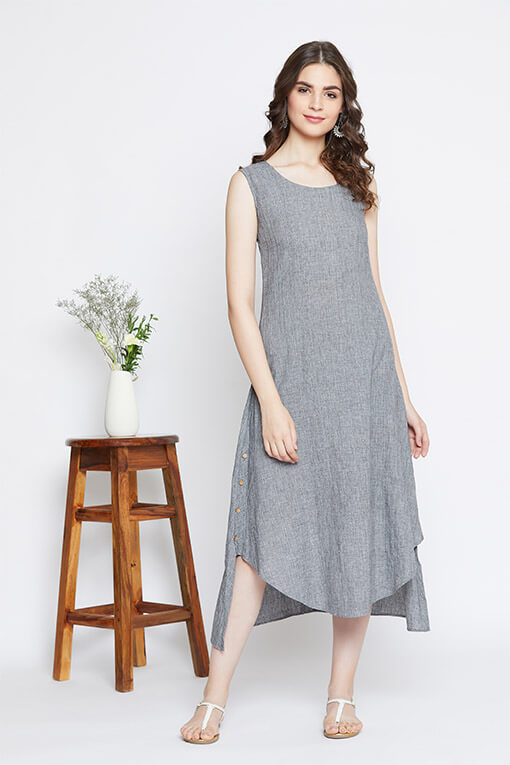 Go minimalistic with our high-low women's cotton dress