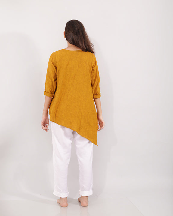 Yellow Asymmetric Women's Top