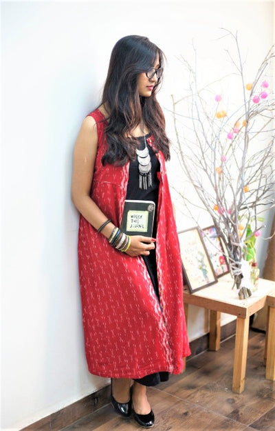 Red ikat dress jacket