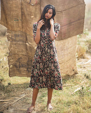 Step out with this Kalamkari black dress from thesvaya