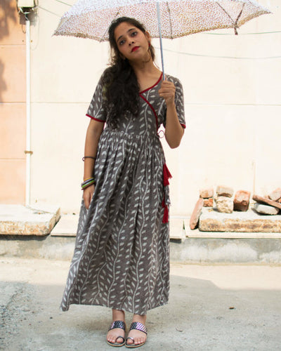 Dabu Leaf Print Dress