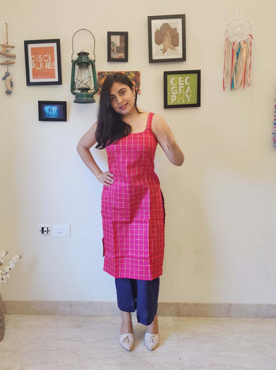 Magenta Sleeveless Cotton Kurta