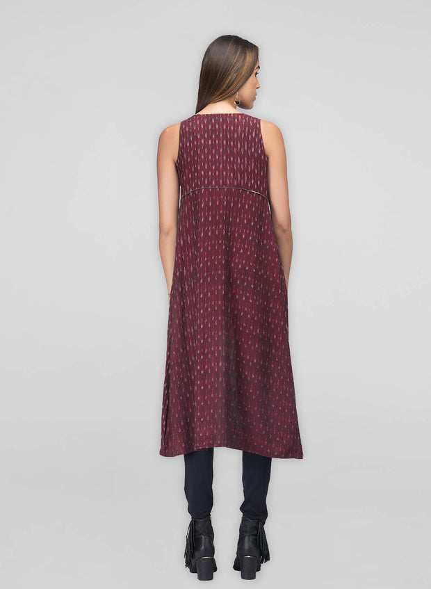 Maroon Ikat Dress Jacket