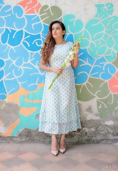 Women's Mint Tiered Long Dress