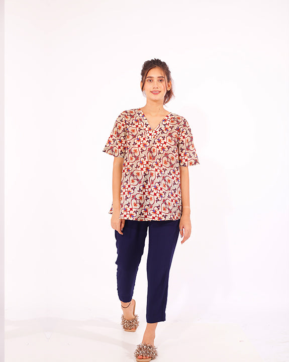 Women's Printed Top & Navy Pyjamas - Set of 2