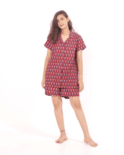 Maroon Cotton Night Suit For Women - Set of 2