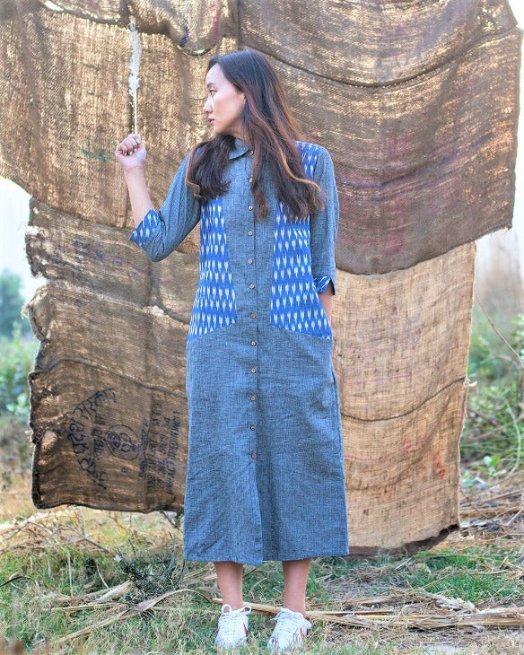 Grey Blue Paoli Shirt Dress For Women