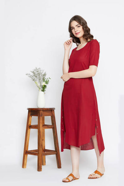 Red summer cotton dress for women.