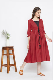 Red Gathered Jacket & Black Inner – Set of 2
