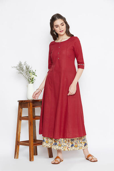 Red Kalidaar Kurta With Beige Palazzos – Set of 2